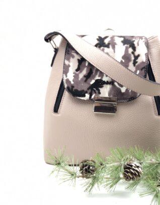 geanta cu imprimeu alb cu negru