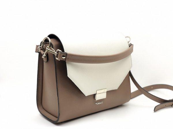 geanta alb cu maro