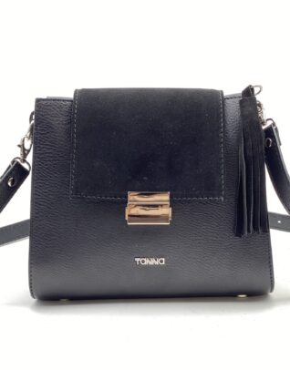 geanta din piele neagra cu accesoriu negru