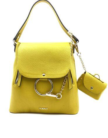 prezentare geanta galbena cu accesoriu