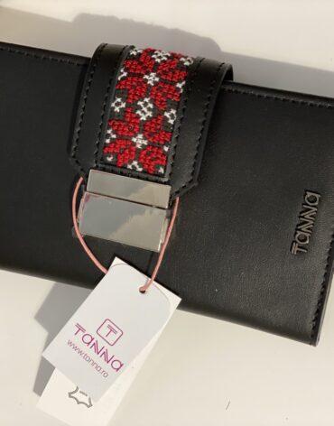 portofel negru cu imprimeu floral