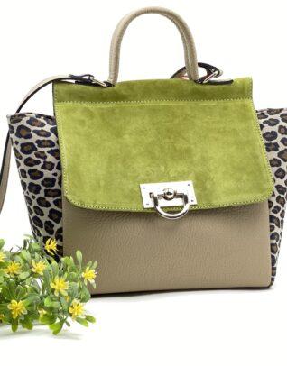 geanta verde cu animal print
