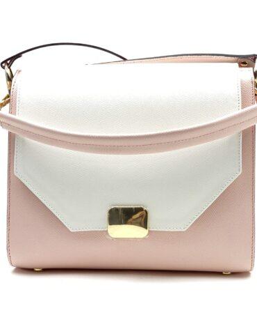 geanta roz din piele cu alb