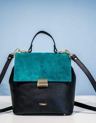poza prezentarea geanta tanna cu negru si albastru