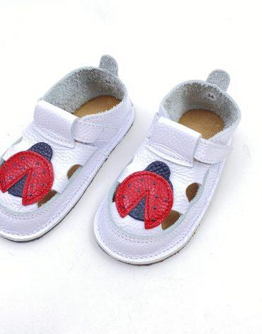 Sandale barefoot din piele naturala Kinder alb Buburuza rosie