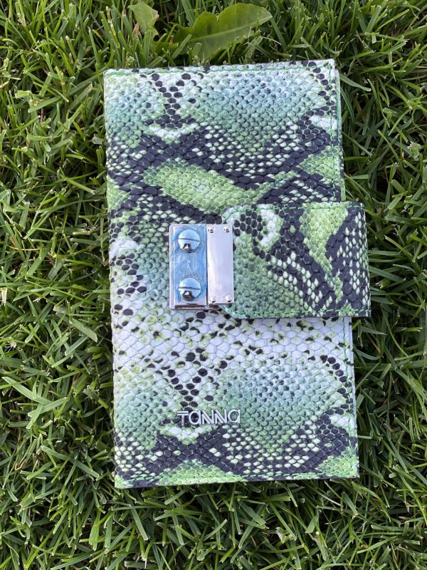 Portofel Tanna din piele naturala, verde-snake