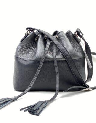 Geanta din piele naturala duo bucket negru/argintiu