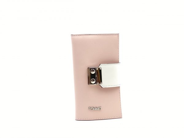Portofel dama, din piele naturala roz/alb