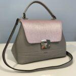 Poseta Opal din piele naturala gri/roz perlat