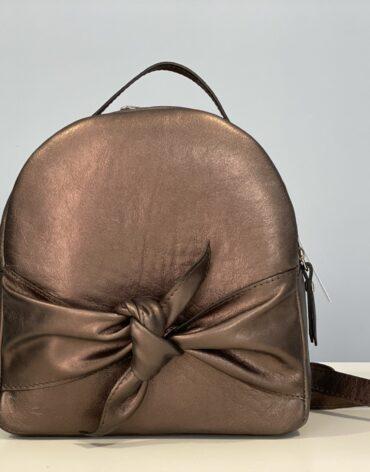 Rucsac din piele naturala Mini fundita-bronz