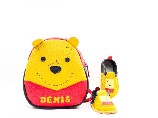 Set pentru gradinita Rucsac Kinder +pantofi barefoot Winnie negru-galben