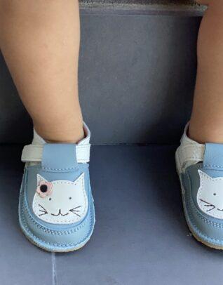 Pantofi barefoot din piele naturala Kinder alb-bleo Pisicuta