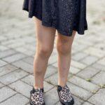 Pantofi barefoot din piele naturala Kinder negru-animal print