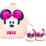 Set pentru gradinita Rucsac Kinder +pantofi barefoot Minnie roz pudrat