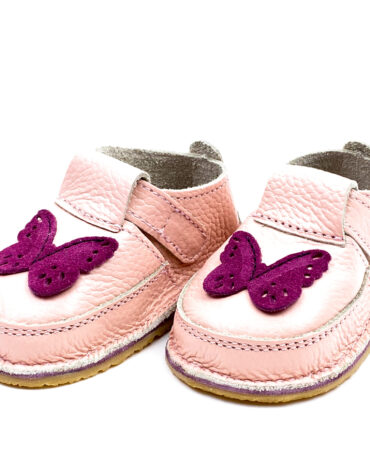 Pantofi barefoot din piele naturala Kinder nude fluturas
