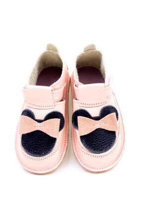 Pantofi barefoot din piele naturala Kinder rose Minnie glitter