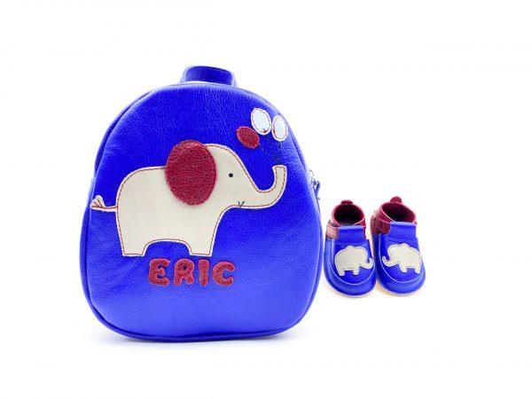 Set pentru gradinita Rucsac Kinder +pantofi barefoot Elefant albastru