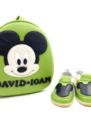 Set pentru gradinita Rucsac Kinder +pantofi barefoot Mickey verde