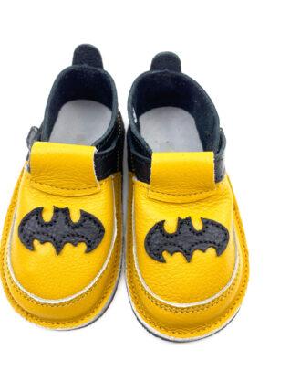 Pantofi barefoot din piele naturala Kinder galben-negru Super erou