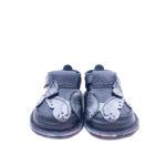 Pantofi barefoot din piele naturala Kinder negru Fluturasi argintii