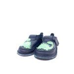 Pantofi barefoot din piele naturala Kinder negru Dino verde