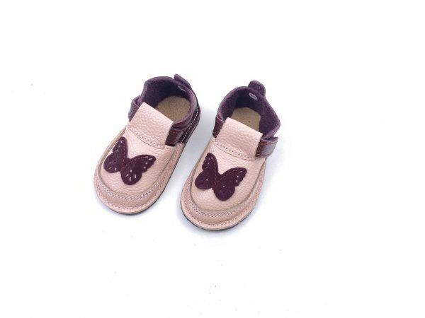 Pantofi barefoot din piele naturala Kinder visiniu-roz Fluturas