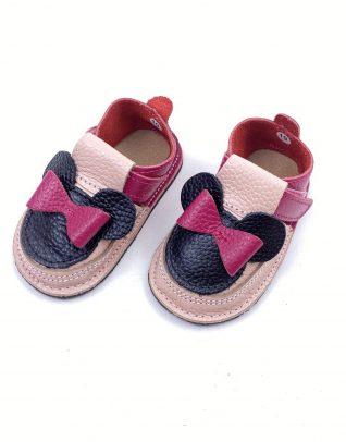 Pantofi barefoot din piele naturala Kinder roz/fucsia Minnie