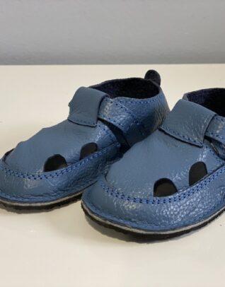Sandale barefoot din piele naturala Kinder albastru petrol