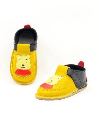 Pantofi barefoot din piele naturala Kinder galben-negru Winnie