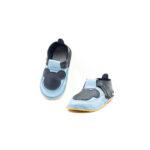 Pantofi barefoot din piele naturala Kinder bleo-negru