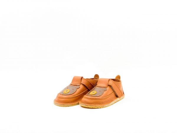 Pantofi barefoot din piele naturala Kinder maro-ursulet