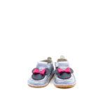 Pantofi barefoot din piele naturala Kinder argintiu-Minnie