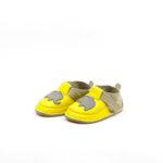 Pantofi barefoot din piele naturala Kinder galben -elefantel
