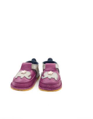 Pantofi barefoot din piele naturala Kinder plamaniu/auriu-elefantel