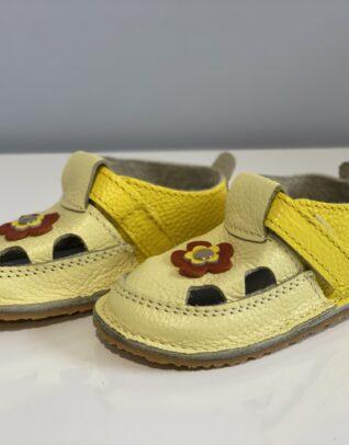 Sandale barefoot din piele naturala Kinder galben