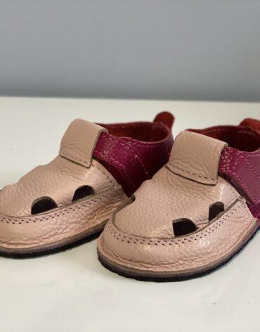 Sandale barefoot din piele naturala Kinder roz pudrat-fucsia