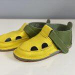 Sandale barefoot din piele naturala Kinder verde-galben