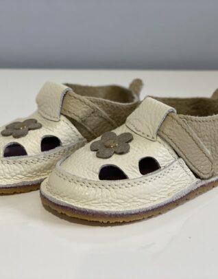 Sandale barefoot din piele naturala Kinder alb-bej