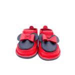 Pantofi barefoot din piele naturala Kinder Minnie-rosu