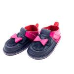 Pantofi barefoot din piele naturala Kinder negru-fucsia Minnie