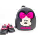 Set pentru gradinita Rucsac Kinder +pantofi barefoot Minnie negru/fucsia