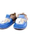 Pantofi barefoot din piele naturala Kinder taupe/albastru Catelus