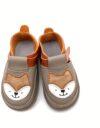 Pantofi barefoot din piele naturala Kinder taupe/orange Vulpita