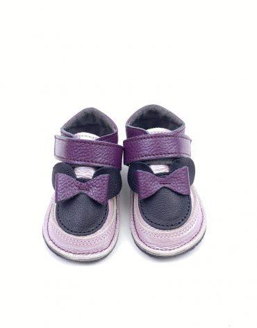 Ghete din piele naturala barefoot Kinder Minnie lila-mov