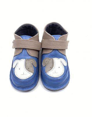 Ghete din piele naturala barefoot Kinder catel albastru-taupe