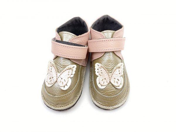 Ghete din piele naturala barefoot Kinder butterfly auriu-roz