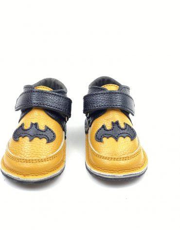 Ghete din piele naturala barefoot Kinder erou galben-negru