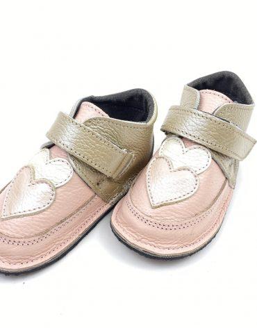 Ghete din piele naturala barefoot Kinder roz-auriu