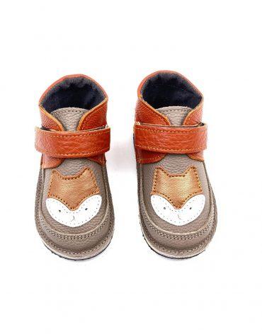 Ghete din piele naturala barefoot Kinder vulpita taupe-orange