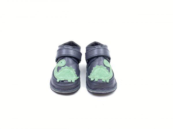 Ghete din piele naturala barefoot Kinder gri inchis Dino
